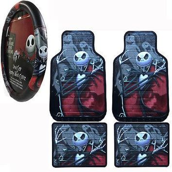 Licensed Official Nightmare Before Christmas Car Truck Front Rear Floor Mats Steering Wheel Cover