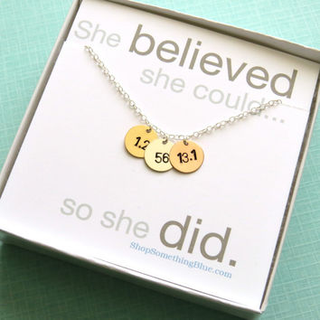 Hand Stamped Triathlon Necklace in Sterling Gold Fill & Rose Gold Fill, Tri Necklace, Run, Bike, Swim Jewelry, Running, 70.3 Sentiment Card