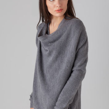 Halston Heritage Drape Cardigan in Heather Grey