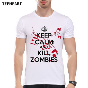 Zombie Design Men's T Shirt Keep Calm The Blood's Not Mine Blood Walking Graphic Printed Tee