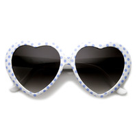 Womens Cute Polka Dot Heart Shaped Fashion Sunglasses 8982