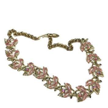 Pink Necklace Wedding Bridal Jewelry, Enamel Flowers with Aurora Borealis Rhinestones Crystals, Pink Prom Necklace Statement Necklace Choker