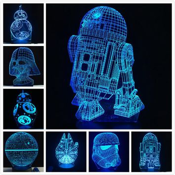 MSA Signature 2018 NEW 3D Lamp Death Star War R2D2 BB-8 Darth Vader Stormtrooper Knight LED Table NIGHT LIGHT Multicolor Cartoon Toy Luminaria