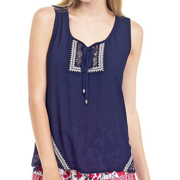 Lace Accent Peasant Tank Top