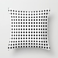 black and white polka dot - polka dot,pattern,dot,polka,circle,disc,point,abstract,minimalism Throw Pillow by oldking
