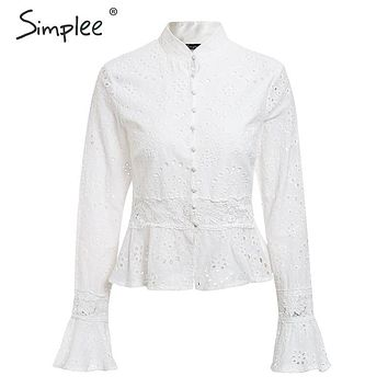 Simplee Elegant hollow out embroidery women blouse