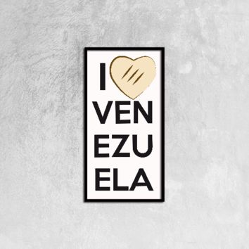 Venezuela -Canvas Prints Wall Art for Home Decorations Stretched Black Vertical Frame Ready to Hang, 12ⅹ24 inch