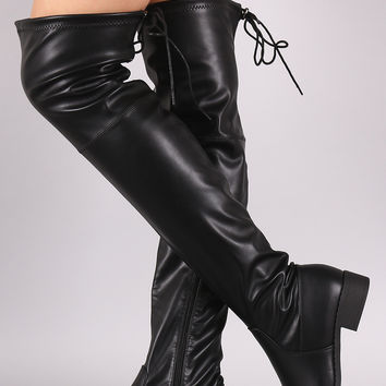 Drawstring Tie Round Toe Over-The-Knee Riding Boots