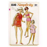 1960s Bathing Suit Pattern / 2-Piece Bathing Suit Bikini Cover-Up Top Beach Shift /  Simplicity 6546 / UNCUT FF / Size 14