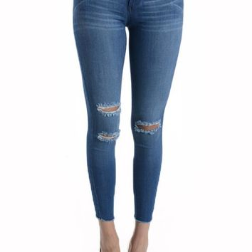 Medium Blue Frayed Hem Plus Jeans