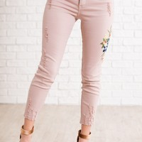 Averie Embroidered Pants (Pink)