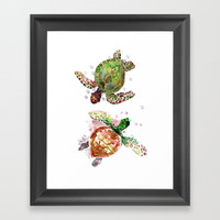 Two Underwater Sea Turtles, Olive Green Cherry Colored Sea Turtles, Framed Art Print by SurenArt