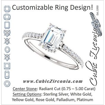Cubic Zirconia Engagement Ring- The Delanie (Customizable Cathedral-set Radiant Cut Style with Thin Pavé Band, Inlaid Milgrain and Tiny Peekaboo Accents)