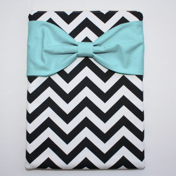 MacBook Pro / Air Case, Laptop Sleeve - Black and White Chevron Aqua Bow - Double Padded