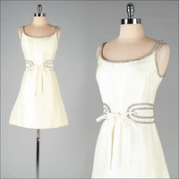 Vintage 1950s Sleeveless Dress . Ivory Silk . Rhinestones . Mod .