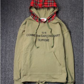 High Quality Supreme Unisex Plaid Hip Hop Hoodies