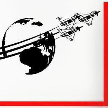 Wall Stickers Vinyl Decal Jets Airplane Around The Globe Airforce Decor Unique Gift (z2384)