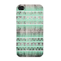 Mint Tribal Pattern on Grey Printed Wood Fit Iphone 4/4s with Hard Plastic Case - Iphone 4/4s Case T-mobile, At&t, Sprint, Verizon