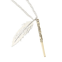 Harry Potter Wand & Feather Necklace