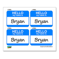 Bryan Hello My Name Is - Sheet of 4 Stickers