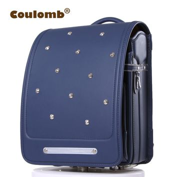 Coulomb Kid Backpack For Boys And Girl School Bag PU Rivets Hasp Randoseru Orthopedic Messenger Book Bags Japan 7 Color 2017