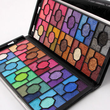 MISS ROSE Eye Shadow Palette 100 Colors Glitter Shimmer Professional Rose Wallet Case Cosmetics