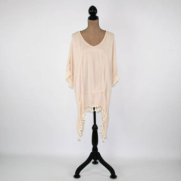 Beige Oversize Top Hippie Clothes Boho Tunic Rayon Cover Up Fringe High Low Top Beige Kaftan Shirt Women Plus Size Clothing Womens Clothing