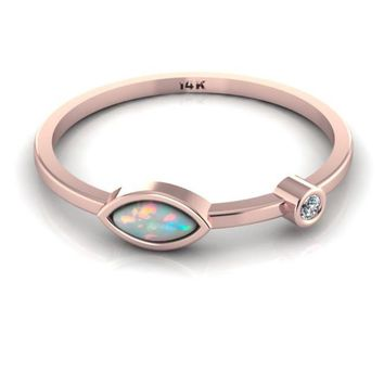 Dainty Opal Ring 14k Rose Gold  Diamond Ring Birthstone Ring October Mothers Ring Tiny Diamond Ring Stackable Jewelry