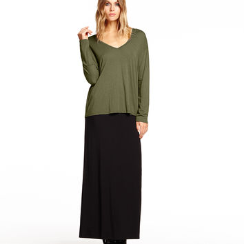 Michael Stars V-Neck with Roll Cuff