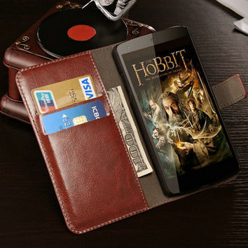 Wallet Stand Design PU Leather Case For LG Google Nexus 5 E980 Luxury Cover Case for LG Nexus 5 with Card Holder WHAY PU