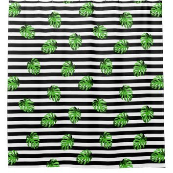 Trendy Tropical Leaves Black White Striped Decor Shower Curtain