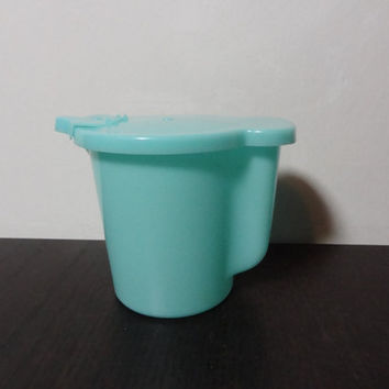 Vintage Tupperware Creamer Pitcher with Spout - Turquoise or Aqua Blue Plastic Creamer Pitcher