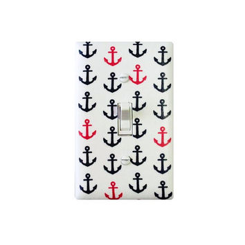 Anchor Light Switch Plate Cover / Nautical Nursery Decor / Navy Blue Hot Pink White / Girls Room