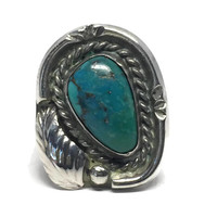 NNative American Turquoise Sterling Silver Ring Size 5 1/2