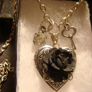Black Rose Heart Locket Necklace with Tiny Skeleton Key and Jewel (1334)
