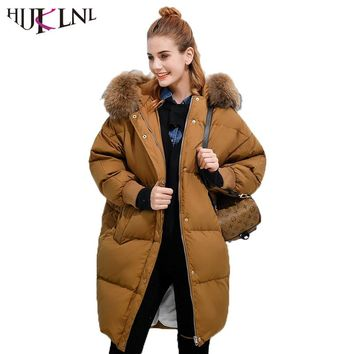 HIJKLNL Raccoon Fur Hood Long Puffer Jacket Women Winter Thick Down Jacket Boyfriend Batwing Sleeve Duck Down Coat Parka NA241