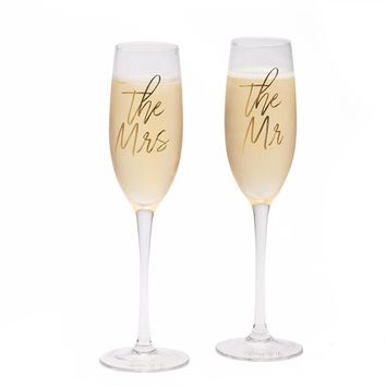 Mr and Mrs. Champagne Flutes - Set of 2