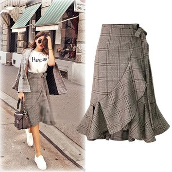 Autumn New Style Houndstooth Lace-up Bowknot Drawstring Sweet Elegant Pleated Skirts Irregular Hem High Waist