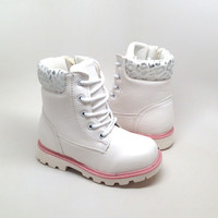 Girls White Boots with Leopard Print Detail and Side Zipper