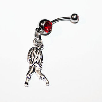 Zombie Belly Button Ring, Horror Jewelry, Zombies, Halloween, Monsters, Navel Piercing