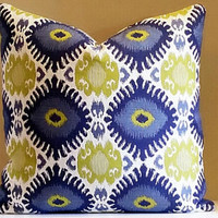 Pillow, Navy Ikat Pillow cover with Chartreuse Suzani , 20x20 pillow cover