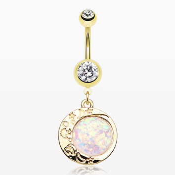 Golden Opal Eclipse Moonshine Belly Button Ring
