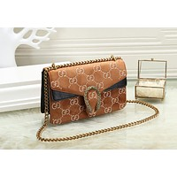 GUCCI Newest Fashionable Women Shopping Bag Velvet Leather Crossbody Satchel Shoulder Bag Brown