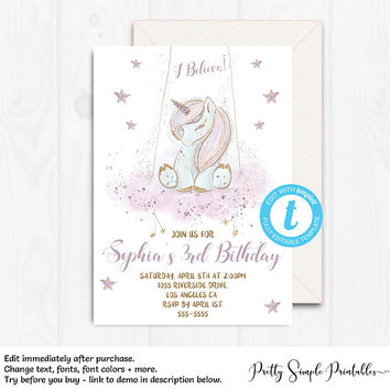 Unicorn Birthday Invitation, Unicorn Party, Unicorn Invitation Template, Editable, Glitter Unicorn, Purple and Gold Invitation, Sparkle UNI1
