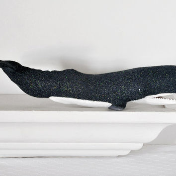 Whale Centerpiece Nautical Decor Glittered Navy Blue Repurposed for Summer Beach Weddings, Bridal Shower Table Settings, Shelf Decoration