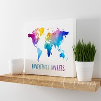 Adventure Awaits, World Map Gallery Wrapped Canvas
