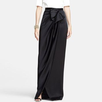 Sensual Women Long Skirts Chic Bow Side Split Invisible Zipper Floor Length Evening Party Skirts Custom Made Maxi Saia