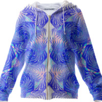 Blue Pink Abstract Ocean Waves Summer Fashion Zip Up Hoodie created by Pasion4Fashion | Print All Over Me