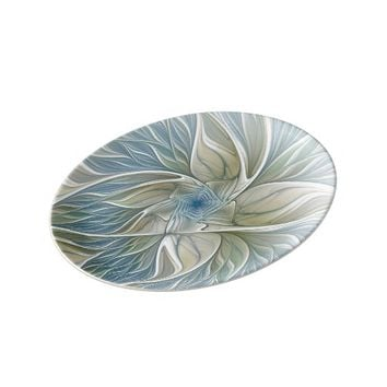 Floral Dream Pattern Abstract Blue Khaki Fractal Porcelain Plate
