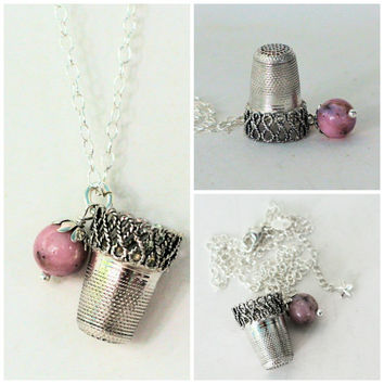 Peter Pan Sterling Silver Filigre Thimble Necklace With Acorn Hidden Kisses Peter Pan and Wendy Second Star Right